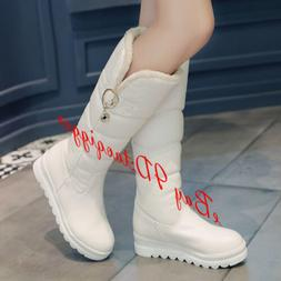 Womens Fur Liningf Wedge Heel Snow Boots Pull On Comfy Warm