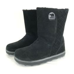 Sorel Womens Glacy Snow Boots Suede Quilted Slip On Black Si