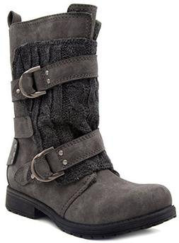 Rampage Womens Jelly Winter Moto Boot with Cable Knit Overla