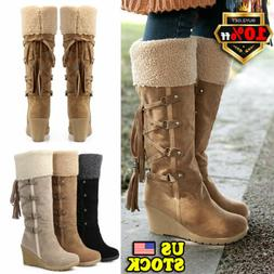 Womens Knee High Fur Warm Wedge Heel Boots Ladies Lace Up Wi