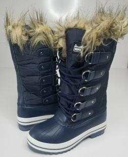 Polar Womens Lace Up Rubber Sole Winter Snow Rain Shoe Blue