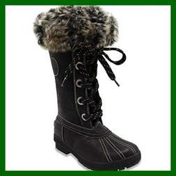 London Fog Womens Melton Cold Weather Waterproof Snow Boot B