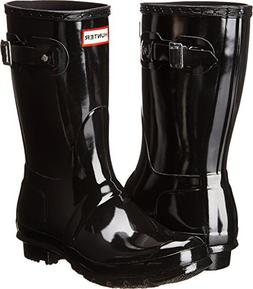 Hunter Women's Original Short Gloss Snow Boot, Black, 8 M