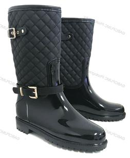 Womens Rain Boots Rubber Adjustable Buckle Fashion Waterproo