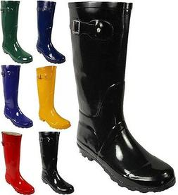Norty Womens Rain Boots Rubber Solid Color Hi Calf Height We