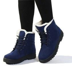 Womens Size 6 Wool Lined Winter Snow Boots Blue Suede Lace U