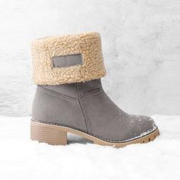 Women's Snow Booties Faux Fur Suede Shoes Square Heels Ank