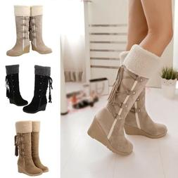 Women's Snow Boots Slouch Below The Knee High Faux Suede F