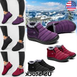 Womens Warm Fur Lined Ankle Booties Ski Snow Boots Waterproo