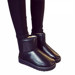 Womens Waterproof Snow Boots Platform Warm Plush Ankle Leath