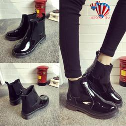 Womens Wellington Ankle Boots Ladies Rain Snow Chelsea Welli