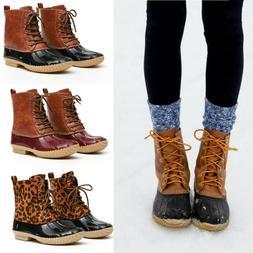 US Women Ladies Duck Boots Snow Waterproof Hiking Walking Hi