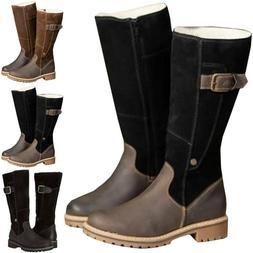 Womens Winter Knee High Snow Boots Army Combat Zip Flat Grip