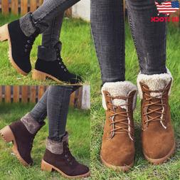 Womens Winter Snow Ankle Boots Ladies Lace Up Hiking Combat