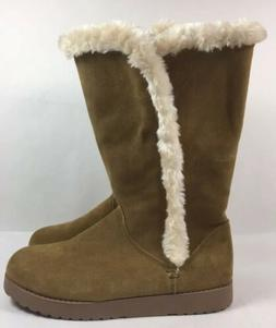 Womens Winter Snow Boots Mid Calf Suede Faux Fur Universal T