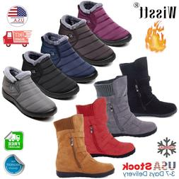 Womens Winter Warm Ankle Boots Ladies Fur Snow Buckle Flats