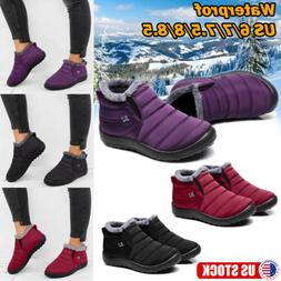 Womens Winter Warm Ankle Snow Boots Fur Lined Water-proof Th