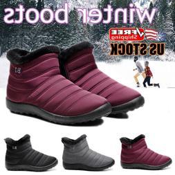Womens Winter Warm Ankle Snow Boots Fur Lined Waterproof Sli