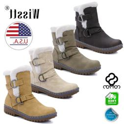 Womens Winter Warm Snow Ankle Boots Ladies Fur Lined Buckle