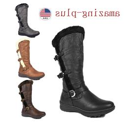 Womens Zip Snow Boots Fully Fur Lined Wide-Calf Winter Low H