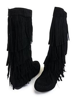 AXNY Mudd 55 Womens 4 Layer Fringe Moccasin Mid-Calf Boots R